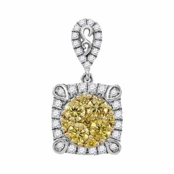 14kt White Gold Women's Round Canary Yellow Diamond Square Cluster Pendant 3-4 Cttw - FREE Shipping (US/CAN)