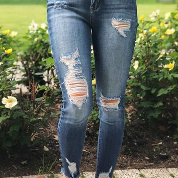 Fringed Distressed Skinny Jeans Dark