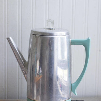 Vintage Percolator, Turquoise Chrome, Mid Century Coffee Maker, Retro Kitsch Kitchen
