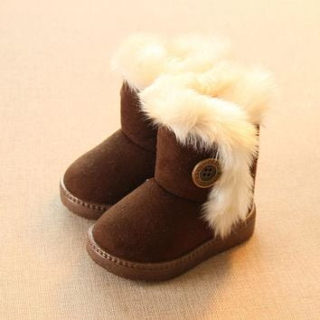 Add Wool Warm Snow Boots For Children Non-slip Flat Round Toe Girls Baby Lovely Boots 2017 New Winter 4 Colors