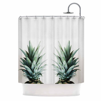 "Chelsea Victoria ""Two Pineapples"" Green Gold Shower Curtain"