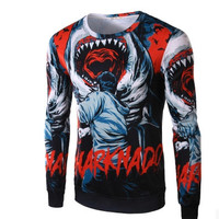 Hot Sale Cotton Print Long Sleeve Round-neck Tee Men T-shirts =