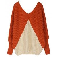 Free Size Orange V-neck Loose Bat Sleeve Women Sweater Discount Top @ A158or