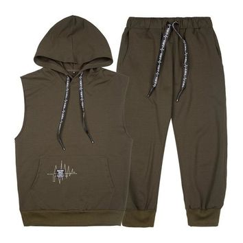 Men's Sleeveless Hoodie & Sweatpants Set