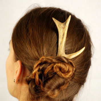Hair accessory antler, stick pin bone deer horn natural roe friendly haar burr pagan celtic animal outstanding celtic taxidermy cruelty free