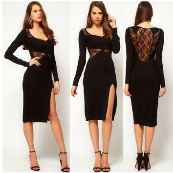 Lace Long Sleeve Backless Sexy One Piece Dress = 5826249985