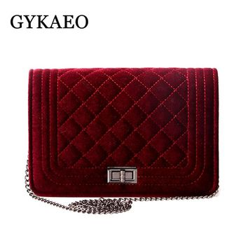 2018 Plaid Chain Fashion snakeskin Velvet women leather handbags day clutch women's bag  small shoulder bag women messenger bags