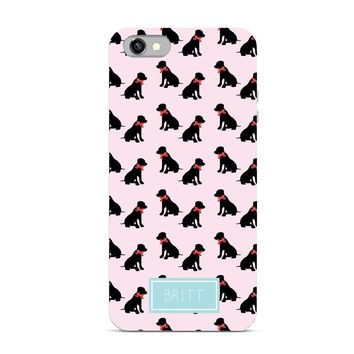 Preppy Collection - Monogrammed Personalized Cell Phone - Dog Labrador with Bow Monogram Style - iPhone Case