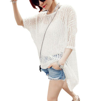 Hollow Asymmetric Pullover Cover-Up Top