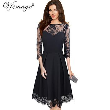 Vfemage Womens Elegant Sexy See Through Floral Lace 3/4 Sleeves Patchwork Vintage Party Cocktail Fit and Flare A-line Dress 4671