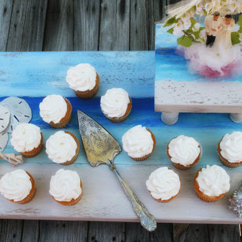 Rustic Beach Theme Painted Wooden Pedistal Cupcake or Cake Stand for Weddings