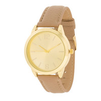 Gold Cream Leather Watch