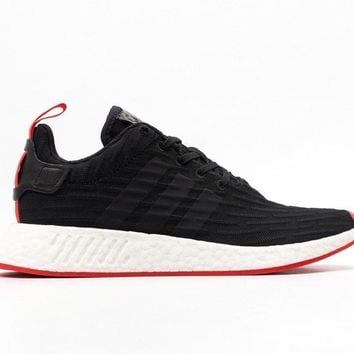 Adidas Men's ORIGINALS NMD_R2 PRIMEKNIT Shoes Black/Red BA7252 b
