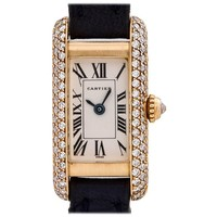 Cartier Ladies yellow gold Diamond Tank Allongee quartz wristwatch, circa 1990s