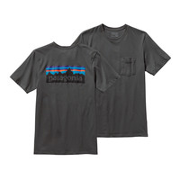 PATAGONIA MEN'S P-6 LOGO POCKET T-SHIRT FORGE GREY
