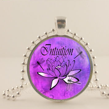 "Intuition, purple, lotus flower, 1"" glass and metal Pendant necklace Jewelry."