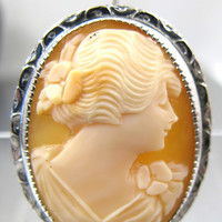 Vintage Carved Cameo Brooch Pendant Shell Cameo Silver Ornate Frame