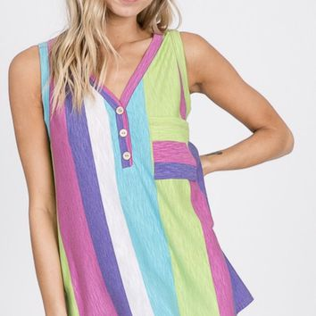 Summer Stripes Tank in Lime