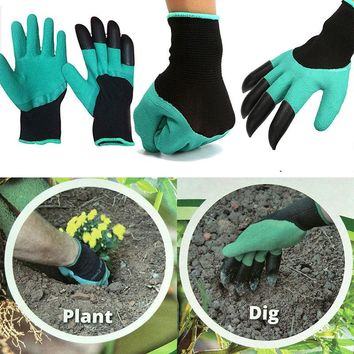 1 pair new Gardening Gloves for garden Digging Planting with 4 ABS Plastic Claws