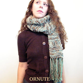 Long Hand Knit Scarf With Fringe -Chunky infinity scarf --Loop Scarf -Brown Green- Ready to Ship