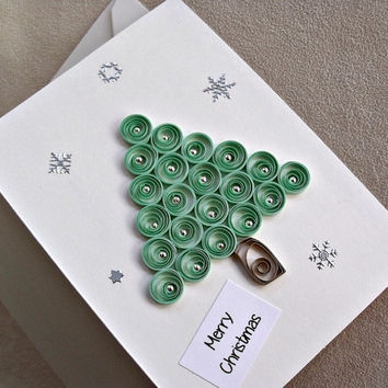 handmade paper quilled  Christmas card –  Merry Christmas tree