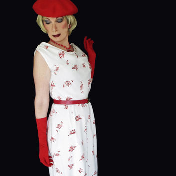 Vintage Holiday Dress - 1950s New Look Red & White Wiggle Dress - Size M/L