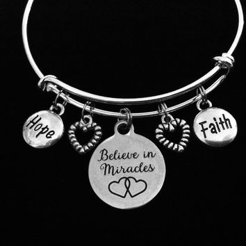 Believe in Miracles Adjustable Bracelet Hope Faith Silver Expandable Bracelet Inspirational Trendy Gift