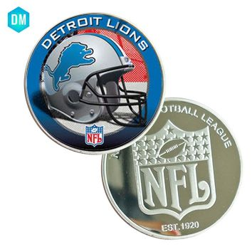 Home Decorative Souvenir Coin DETROIT LIONS 999.9 Silver Plated NFL Challenge Coin Artwork for Collection