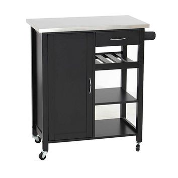 New Century® Black W/ Stainless Steel Top & Rack, Mobile Kitchen Island Cart