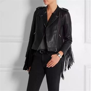 *online exclusive* fringed faux leather tassels sleeve motorcycle jacket