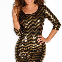 """Gia"" Gold and Black Long Sleeve Open Back Sequin Party Dress"