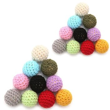 New Round Wooden Crocheted Beads Colorful Woolen Teether Bead Toy Necklace