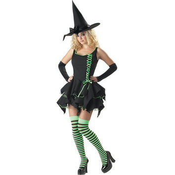 Deluxe Black Magic Witch Costume Adult Women Fantasia adulto Halloween Cosplay Disfraces Gothic Fancy Dress