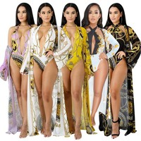 Sexy Halter Deep V Swimsuit 2018 New Printed Bodysuit Bikinis Summer Beach Swimwear Bathing Suit Women Cover Up Biquini