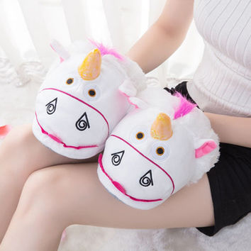 2016 New Arrival Unisex Winter Cute Cartoon Warm Indoor Slippers Plush Unicorn Slippers For Grown Ups Home Slippers