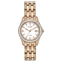 Ladies' Citizen Eco-Drive Rose Golden Silhouette Crystal Watch