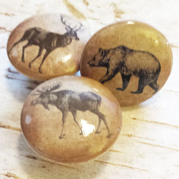 "3 Handmade 1.5"" Wildlife Animals Birch Knobs Drawer Pulls, Woodland Cabinet Pull Handles, Lodge Decor Dresser Knobs, Made To Order"