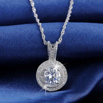 Gorgeous 1.25 CT Hearts and Arrows Cut Pendant Necklace Halo Round Necklace Gift
