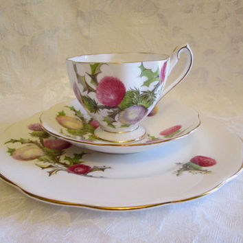 Queen Anne Dundee Thistle Tea Cup Saucer Dessert Plate Trio English Fine Bone China