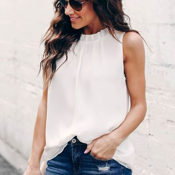 Chic White Ruffle Trim Neckline Tank Top