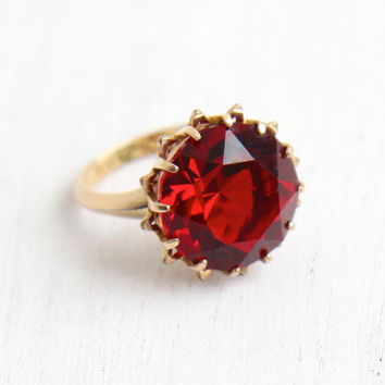 Vintage Ruby Red Glass Stone Ring - 10k Gold Filled Signed C&C Clark and Coombs Size 6 Crimson Red Huge Stone Statement Jewelry