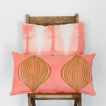 Coral Pink Cushion Cover Set- 20x20 shibori pillow cover in coral pink, 12x22 lumbar hand dyed pillow cover with block printed design
