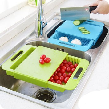 3 In 1 Kitchen Sink Cutting Removable Chopping Blocks Drainage With Drain Basket