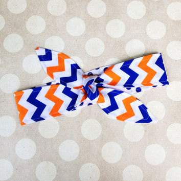 Game Day - ORANGE BLUE Adult Dolly Bow - Reversible - Tie Up Headscarf Headband Bandana Hair Accessory Boho Preppy Rockabilly College Sports