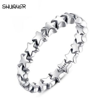 Romantic Ring Authentic Silver-Color Star Forever Love Finger Ring Fine Jewelry