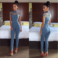 2016 Summer Sexy Women Office Overalls Vintage Holes Tight Short Sleeve Solid Jumpsuit Rompers Womens Jumpsuit Combinaison Femme
