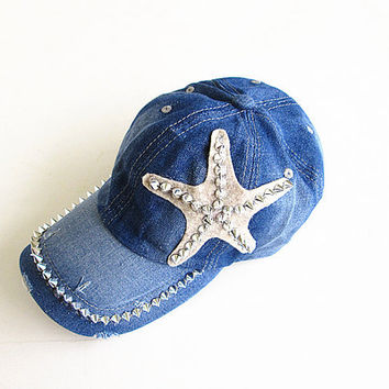 Studded Starfish Baseball Cap-Unisex Cap-Baseball Cap-Fashion Cap-Steam Punk Cap-Denim Cap.