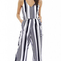 Summer V-neck Straps Jumpsuits Dark Blue and White Striped Sleeveless Siamese Pants
