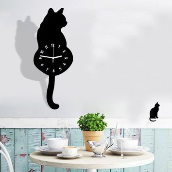 Acrylic Cat Wall Clock Home Decor Watch Way Tail Move Silence