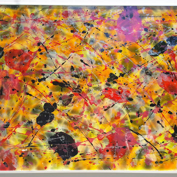 """""""Cheetah Hunt"""" by Steven Frazer - 36 1/4"""" x 24 1/4"""" Abstract painted glass in aluminum frame"""